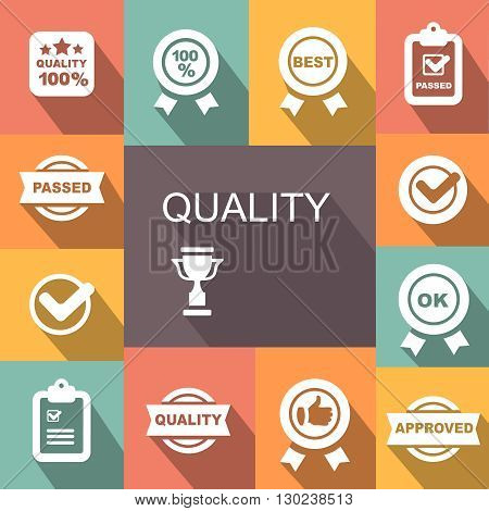 Quality control related icon set. badge with ribbons
