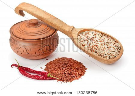 clay pots wooden spoon spices and rice isolated on white background