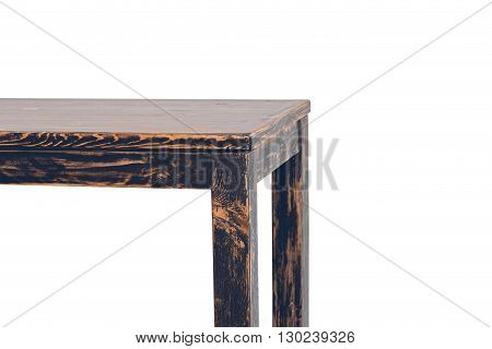Part of empty wooden table isolated on white