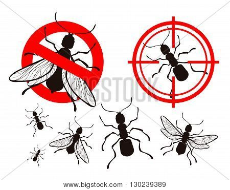 termite or ant. pest control icons set. vector illustration