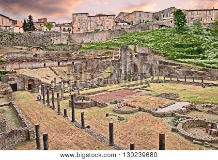 ancient Roman Theater (1st century BC) in Volterra, Tuscany, Italy - italian archeology, ruins of an ancient amphitheater