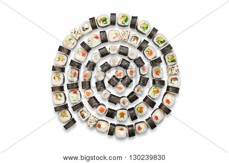 Roll spiral. Japanese food restaurant, sushi maki gunkan roll plate or platter set. Maki Sushi rolls with salmon and avocado. Sushi isolated at white background. Top view, flat lay.