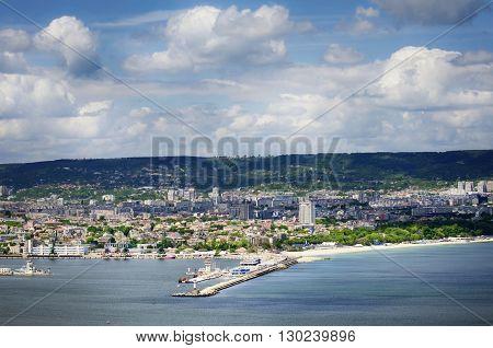 View at Varna Town and Black Sea Port Bulgaria