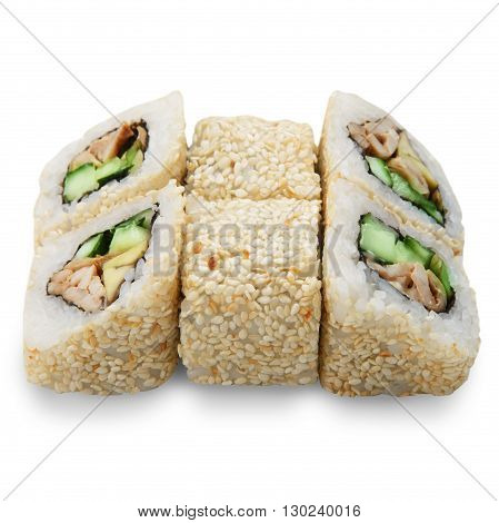 Japanese food restaurant delivery - sushi rolls california with sesame, eel, avocado and cheese isolated at white background. Sushi rolls with sesame