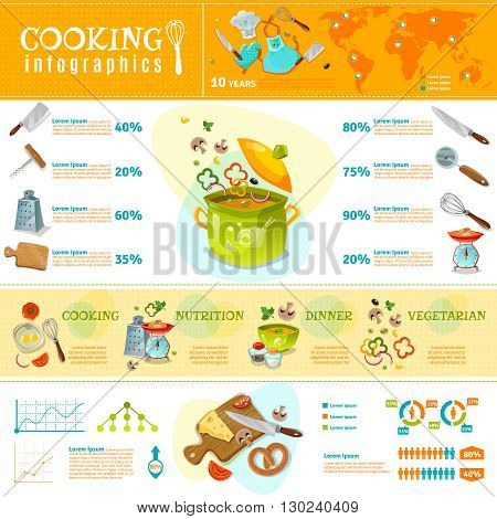 Cooking infographics flat layout with statistics of  kitchenware sales and set of products for home cooked food vector illustration