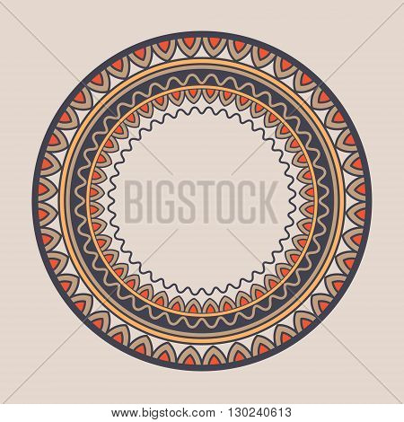 Mandala. Doodle vector. Geometric decorative round plate with ornament. Kyrgyz Kazakh circular abstract pattern. Design element ornaments