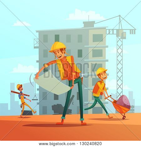 Building and construction industry cartoon background with workers tools and equipment vector illustration