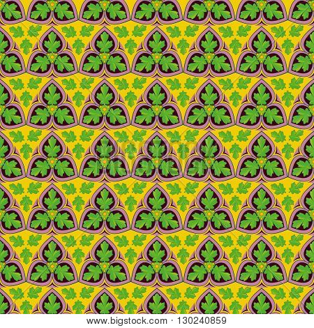 Abstract vector seamless brightly green leaf pattern