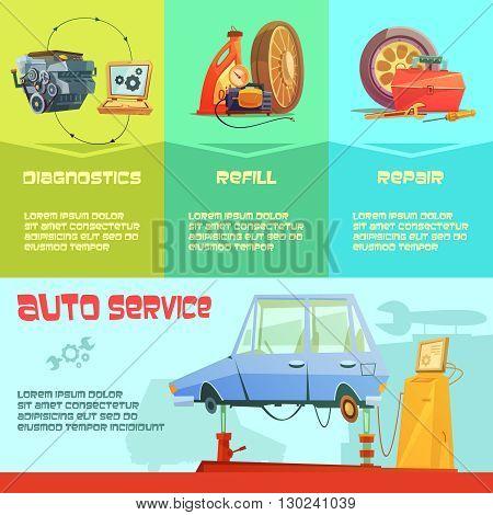 Auto service infographic set with diagnostics refill and repair symbols cartoon  vector illustration