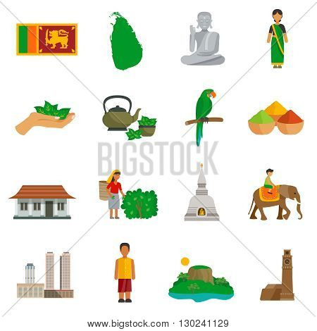 Set of color flat icons of Sri Lanka landmarks and culture features vector illustration