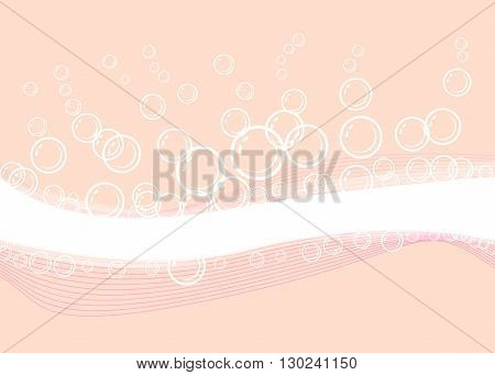 Pink bubbles and transparent bath soap suds bubbling with blank area for text with bunch of foam in many circular sizes in the air floating as clean symbols of washing and freshness.
