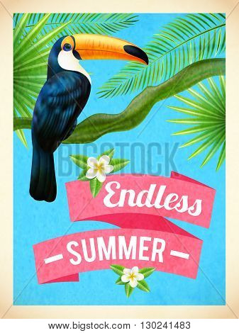 Endless summer vacation travel poster with toucan bird and hibiscus flowers in rain forest abstract vector illustration