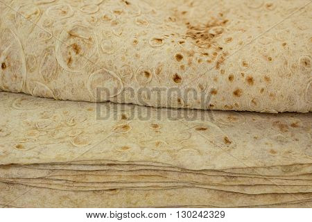 traditional armenian bread pita, close up view