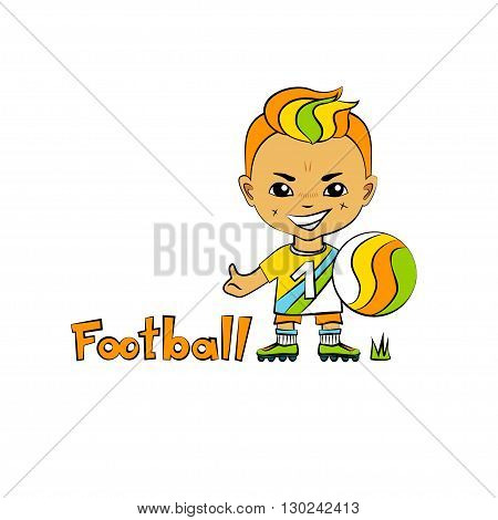 Vector cartoon boy football-player in chibi style