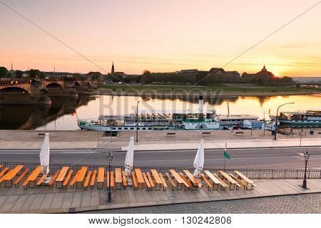 DRESDEN, GERMANY - MAY 12, 2016: View of the Neustadt over river Elbe, Dresden, Germany on May 12, 2016.