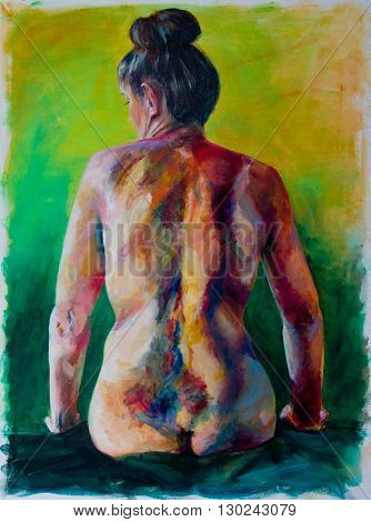 contemporary painting of nude female full back