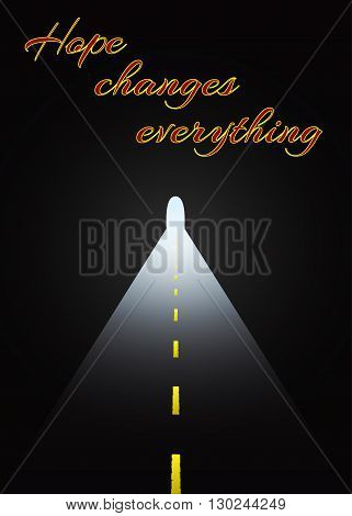Light at the end of the tunnel. Vector illustration