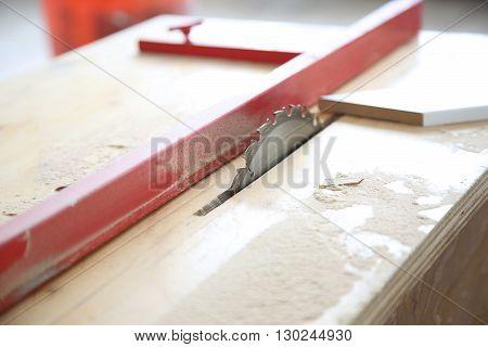 Cutting Wood On Electric Saw