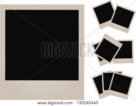 Set of empty photos on white background.