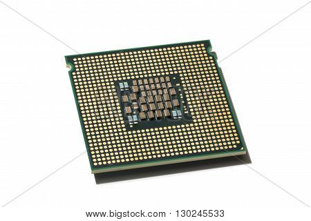 Processor CPU closeup isolated on white background