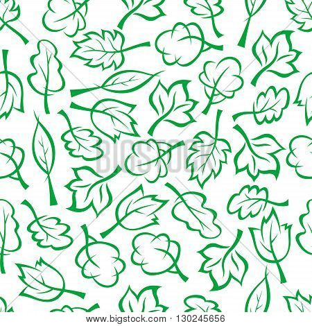 Bright green sketched seamless pattern of spring forest or park trees and bushes randomly scattered over white background. Use as nature, ecology themes or retro fabric design