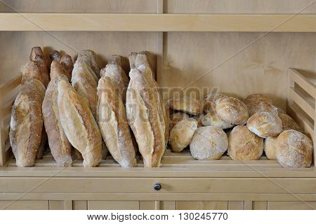 image of bread on the shelf close up