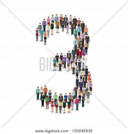 Large group of people foming number 3 on white background: different casual people collection