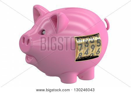 piggy bank with safe lock 3D rendering isolated on white background