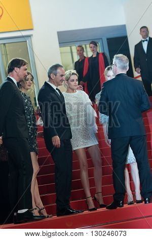 Lars Eidinger, Director Olivier Assayas, actress Kristen Stewart attends the 'Personal Shopper' premiere at the 69th Festival de Cannes. May 17, 2016  Cannes, France