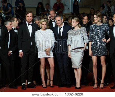 Sigrid Bouaziz, Olivier Assayas, Kristen Stewart, Nora von Waldstaetten, Anders Danielsen Lie attends the 'Personal Shopper' premiere at the 69th Festival de Cannes. May 17, 2016  Cannes, France