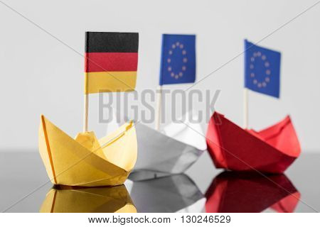Paper Ship With German And European Flag
