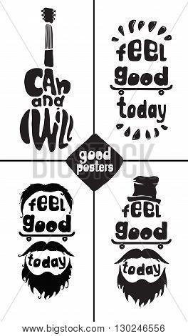 Feel Good Today. Hipster, Mustaches, Beard, Skate, Hat