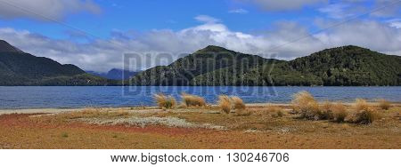 Landscape in the Fjordland National Park New Zealand. Tussock lake and hills covered by forests.
