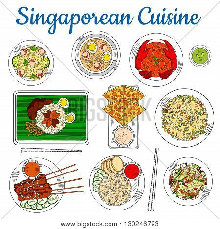 Colorful national dishes of singaporean cuisine sketch symbol with popular chilli crab, fried rice and beef satay, flatbread with tartar sauce, spicy shrimp soup and fried noodles, chicken liver with rice and vegetable salad with smoked salmon