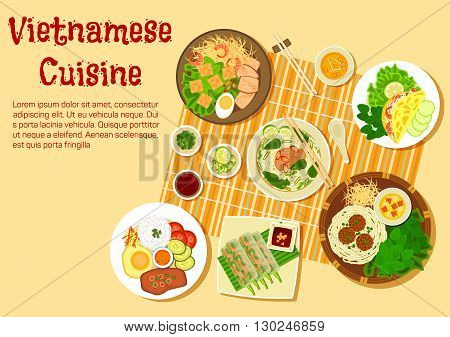 Vietnamese cuisine flat icon with top view of family dinner with beef and rice vermicelli soup bun bo, rice thin pancakes, shrimp salad rolls, broken rice com tam with vermicelli cakes, meatballs with noodles and pork chop with egg and rice, various of fr