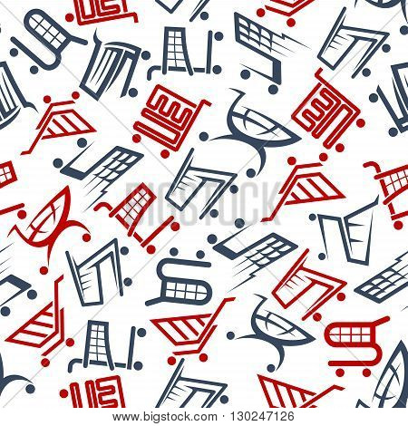 Shopping and sales promotion background with seamless red and dark gray shopping carts and trolleys pattern. Great for retail business theme or fabric design