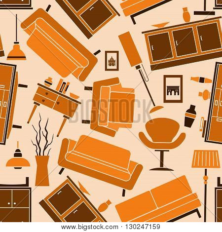 Home furniture background in warm colors with orange and brown seamless pattern of comfortable sofas and armchairs, wooden chests of drawers, vintage floor lamps and decorative interior accessories