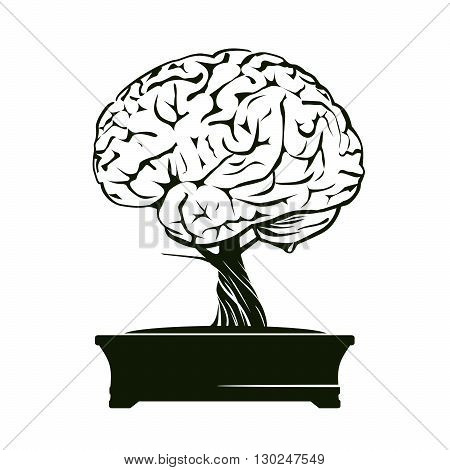 Black Bonsai Tree and Brain. Vector Illustration.