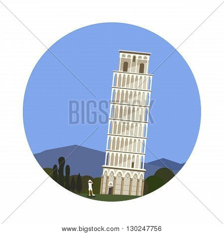 Leaning Tower of Pisa icon isolated on white background. Vector illustration for famous ancient building design. Travel italy postcard. Classic europe landmark symbol. Touristic italian architecture