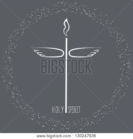 Church symbol. Pentecost Sunday. Christian Church concept. Holy spirit. Sacrament symbol. Biblical tongues of fire cross holy spirit dove. Religious logo. Vector illustration.