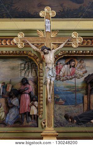 ZAGREB, CROATIA - SEPTEMBER 14: Cross on the altar in the Basilica of the Sacred Heart of Jesus in Zagreb, Croatia on September 14, 2015