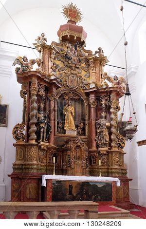 KOTARI, CROATIA - SEPTEMBER 16: Main altar in the church Leonard of Noblac in Kotari, Croatia on September 16, 2015.