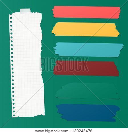 Ripped squared blank note paper, colorful sticky, adhesive tapes are stuck on green wall.