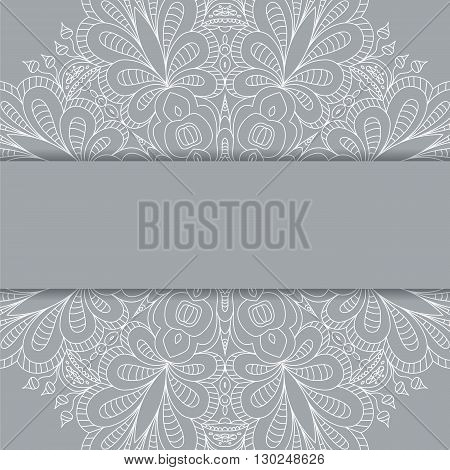 Cute Vector Card Template. Ornamental Lace Pattern. Vintage Card With  Ornament For Any Holiday Or A