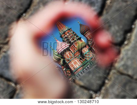 St. Basil's Cathedral in the mirror. Moscow landmarks