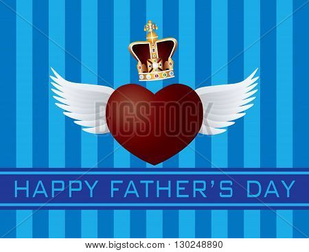 Happy Father's Day Text Flying Heart with Wings and Crown on Blue Stripes Pattern Background Illustration