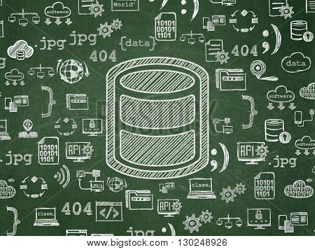 Database concept: Chalk White Database icon on School board background with  Hand Drawn Programming Icons, School Board