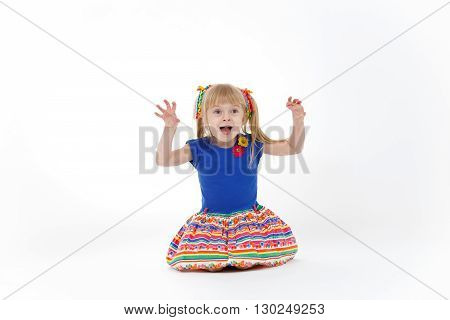 Funny Little Blond Girl With Two Tails Imitating Cat On White Background