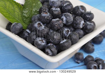 Blueberry antioxidant organic superfood in a bowl concept for healthy eating