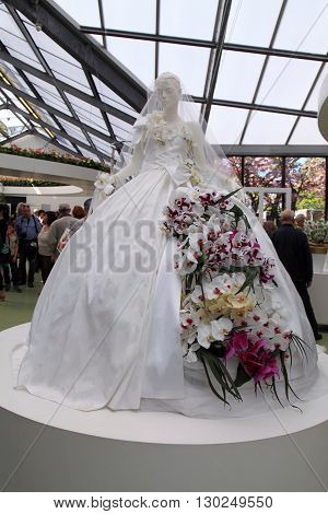 KEUKENHOF, NETHERLANDS - MAY 5, 2016: Bridal orchid floristic decor in flower greenhouse in Keukenhof Garden Lisse Netherlands. Keukenhof is the world's largest flower garden.